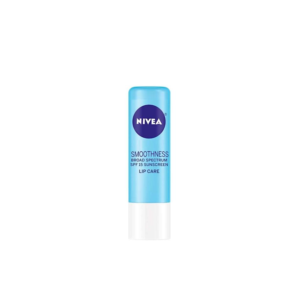 "I swear by this lip balm. And as someone with perpetually dry lips, trust that I would never steer you wrong. It goes on so smooth and shiny, but never feels greasy or sticky like some sticks. <em>—Anna Moeslein, senior editor</em> $3, Walmart. <a href=""https://www.walmart.com/ip/NIVEA-Smoothness-Lip-Care-SPF-15-0-17-oz-Carded-Pack/34495854"">Get it now!</a>"