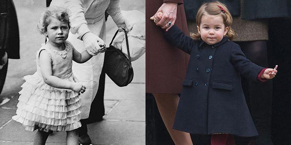 """<p><strong>LEFT:</strong> A 1929 photograph of the future Queen shows her as a 3-year-old. </p><p><strong>RIGHT:</strong> A 2-year-old Princess Charlotte attends church on Christmas Day in Bucklebury, Berkshire in 2016. </p><p><a href=""""https://www.goodhousekeeping.com/holidays/christmas-ideas/g4932/royal-christmas-traditions-meghan-markle/"""" rel=""""nofollow noopener"""" target=""""_blank"""" data-ylk=""""slk:RELATED: 10 Christmas Traditions Every Royal Follows"""" class=""""link rapid-noclick-resp""""><strong>RELATED:</strong> 10 Christmas Traditions Every Royal Follows</a></p>"""