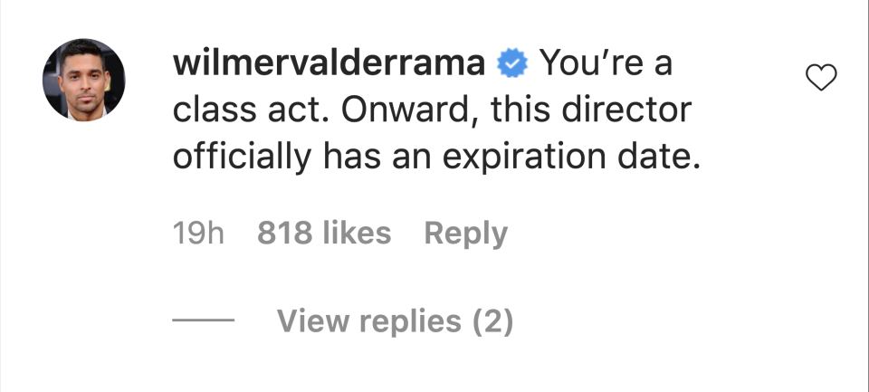 Wilmer Valderrama praised fellow actor Lukas Gage after he was insulted by an unnamed director. (Screenshot: Instagram/Wilmer Valderrama)