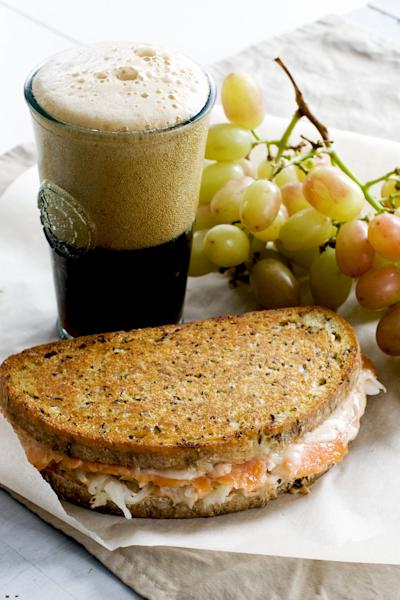 In this image taken on Dec. 10, 2012, a smoked salmon Reuben panini is shown in Concord, N.H. (AP Photo/Matthew Mead)