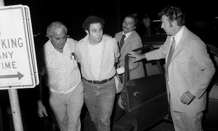 Police escort handcuffed Son of Sam suspect David Berkowitz into Police headquarters in lower Manhattan. (Photo By: Alan Aaronson/NY Daily News via Getty Images)