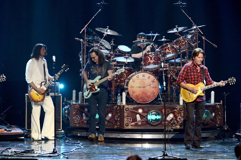 Dave Grohl performs with Rush at the Rock And Roll Hall Of Fame