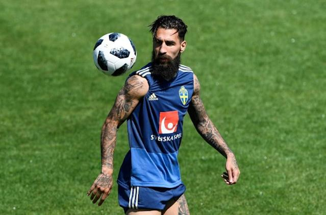 Sweden midfielder Jimmy Durmaz trains in Gelendzhik, Russia, during the 2018 World Cup