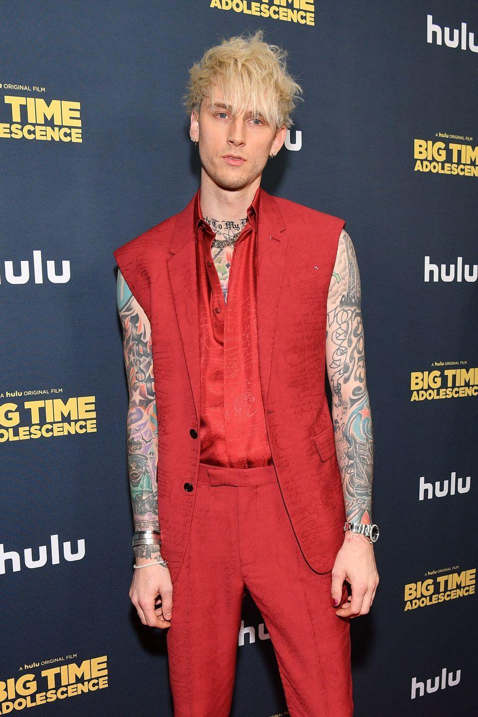 <p><strong><strong>Blonde</strong></strong></p><p>For the past few years though, the rapper/actor (real name: Colson Baker) has been known to rock an edgy, platinum blond hue that actually suits his rocker-chic style. </p>