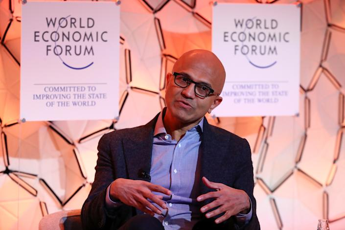 Satya Nadella, Chief Executive Officer of Microsoft, attends a session at the 50th World Economic Forum (WEF) annual meeting in Davos, Switzerland, January 23, 2020. REUTERS/Denis Balibouse