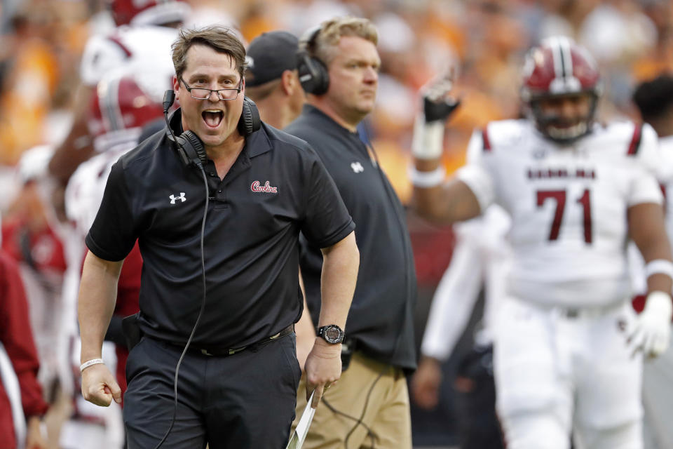South Carolina head coach Will Muschamp reacts to a play in the first half of an NCAA college football game against Tennessee, Saturday, Oct. 26, 2019, in Knoxville, Tenn. (AP Photo/Wade Payne)