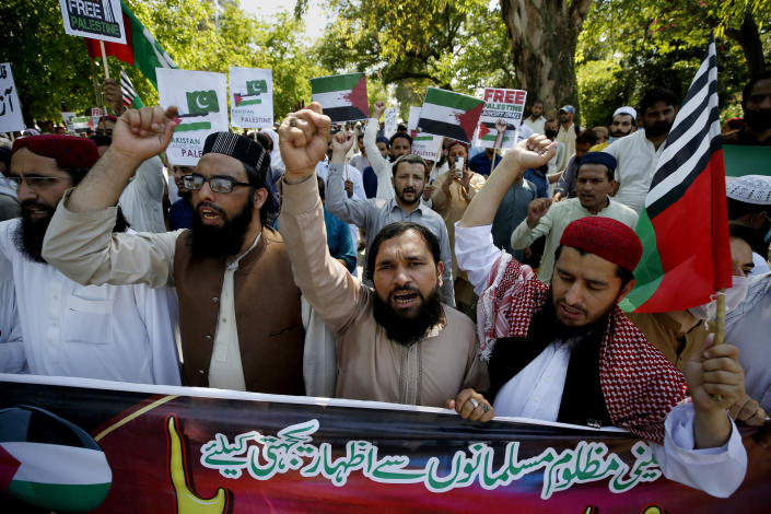 Supporters of a Pakistani religious party chant slogans during a rally in support of Palestinians in the Gaza conflict in Islamabad, Pakistan, Friday, May 21, 2021. (AP Photo/Anjum Naveed)