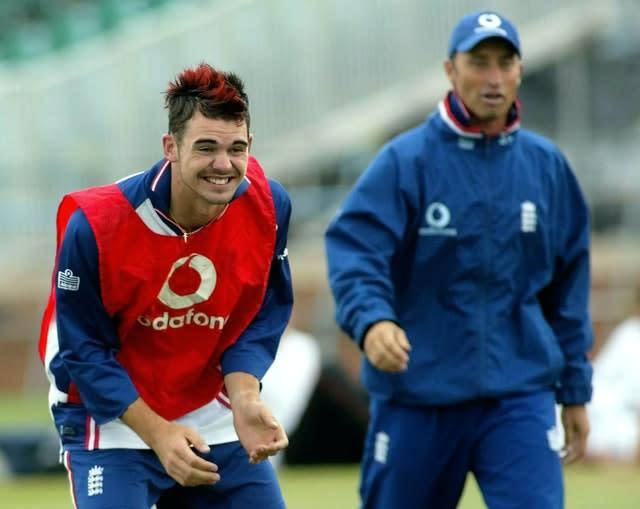 James Anderson, left, took a hat-trick against Essex, with one of his victims Nasser Hussain, right (Gareth Copley/PA)