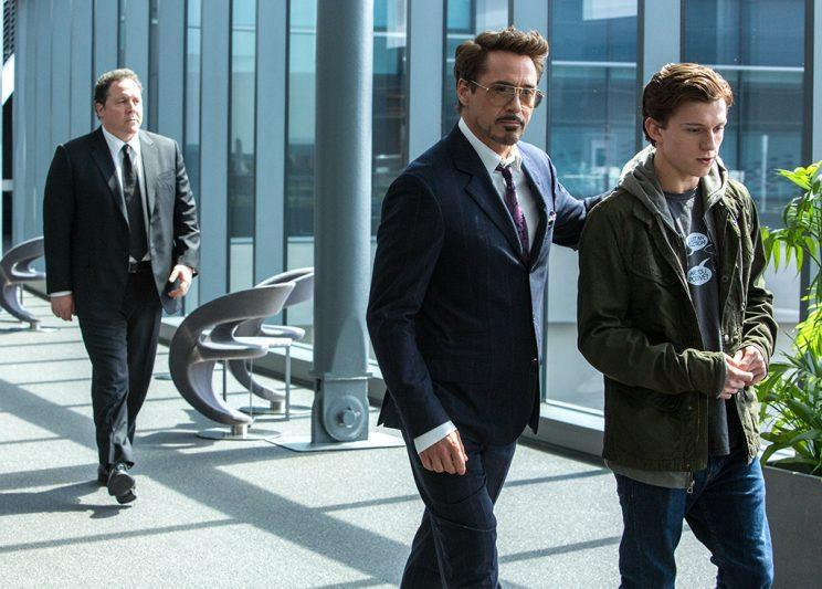 Jon Favreau, Robert Downey Jr. and Tom Holland in 'Homecoming' (Photo: Columbia Pictures)