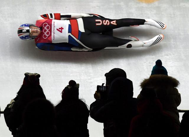<p>Summer Britcher of the United States competes in the women's luge singles run 1 during the Pyeongchang 2018 Winter Olympic Games, at the Olympic Sliding Centre on February 12, 2018 in Pyeongchang. (Photo by Mohd Rasfan/AFP/Getty Images) </p>