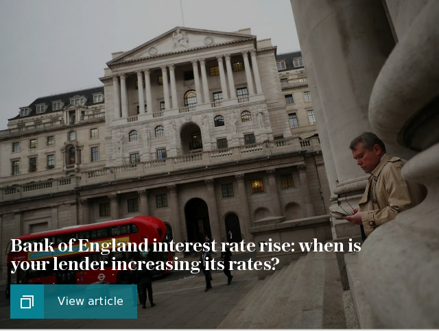 Bank of England interest rate rise: when is your lender increasing its rates?