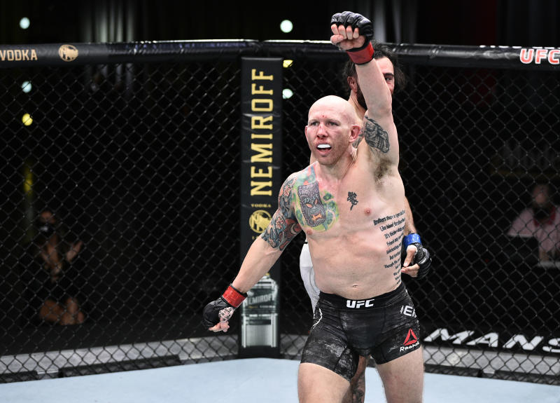 LAS VEGAS, NEVADA - JUNE 20: Josh Emmett reacts after the conclusion of his feathweight bout against Shane Burgos during the UFC Fight Night event at UFC APEX on June 20, 2020 in Las Vegas, Nevada. (Photo by Chris Unger/Zuffa LLC)