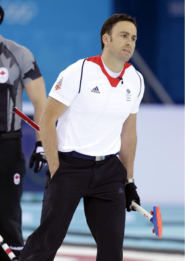 Britain skip David Murdoch reacts after delivering the rock during the men's curling gold medal game against Canada at the 2014 Winter Olympics, Friday, Feb. 21, 2014, in Sochi, Russia. (AP Photo/Robert F. Bukaty)