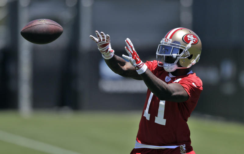 San Francisco 49ers wide receiver Marquise Goodwin makes a catch at practice. (AP)