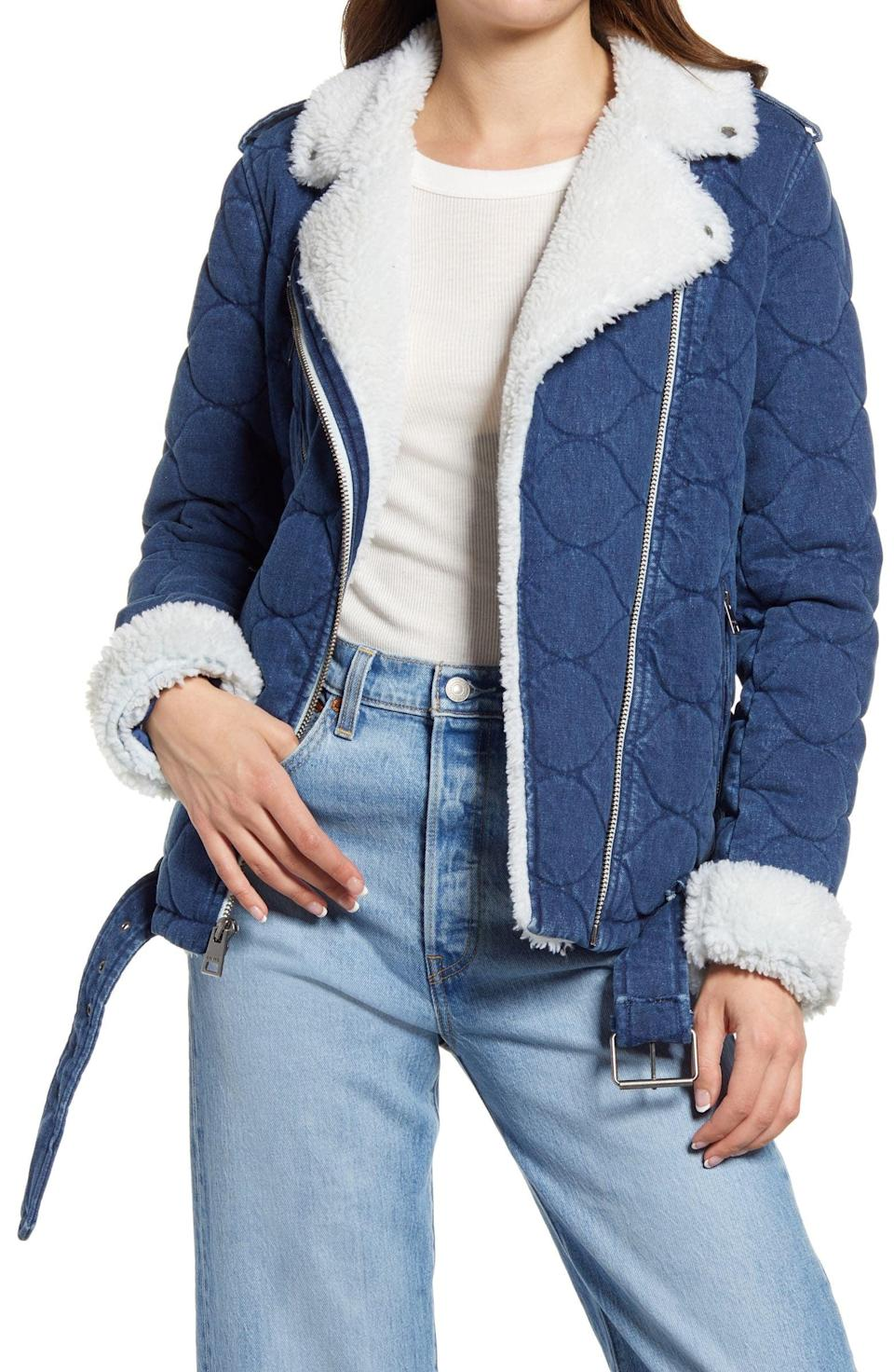 <p>With its sherpa lining and cool denim silhouette, this <span>Levi's Denim Moto Jacket</span> ($200) has enduring appeal. She can style it with blue jeans for a denim-on-denim look or with black leather pants to make it stand out.</p>