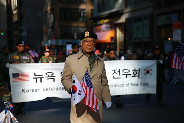 <p>Members of Korean Veterans Vietnam War of New York march up Fifth Avenue during the Veterans Day parade in New York on Nov. 11, 2017. (Photo: Gordon Donovan/Yahoo News) </p>