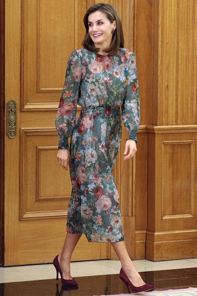 <p><strong>17 October</strong> Queen Letizia of Spain was spotted wearing a floral Zara dress while in Spain. </p>