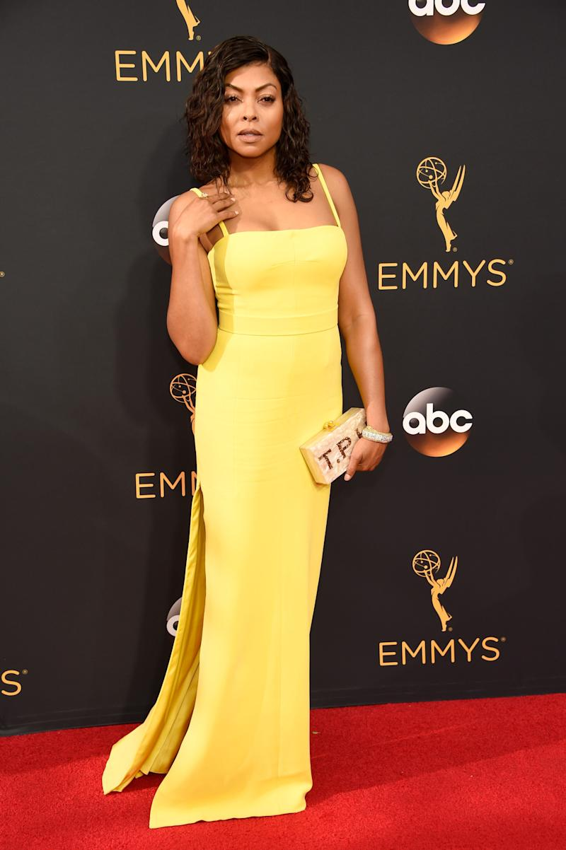 taraji P. Henson in Vera Wang on the red carpet. (Photo: Getty Images)