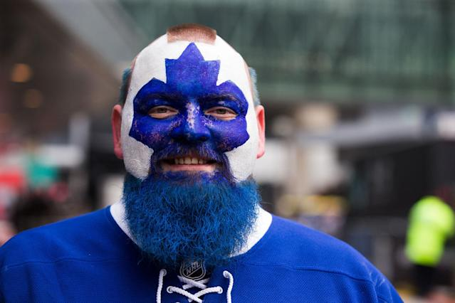 "<p>The Maple Leafs rewarded their long-suffering fans by making it to the post-season for the first time in 12 seasons. Nobody captured the excitement better than ""Dart Guy."" (Photo by Kevin Sousa/NHLI via Getty Images) </p>"