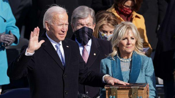 PHOTO: Joe Biden is sworn in as President as Jill Biden looks on during his inauguration on the West Front of the U.S. Capitol on Jan. 20, 2021, in Washington. (Alex Wong/Getty Images)