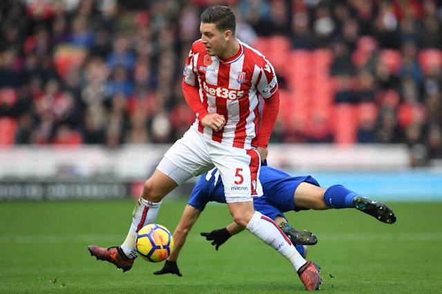 Stoke City defender Kevin Wimmer made just 19 appearances in all competitions as Stoke were relegated from the Premier League (AFP Photo/Paul ELLIS)