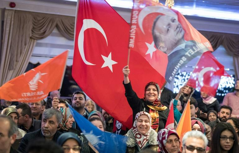 Erdogan supporters at a rally in the German town of Kelsterbach