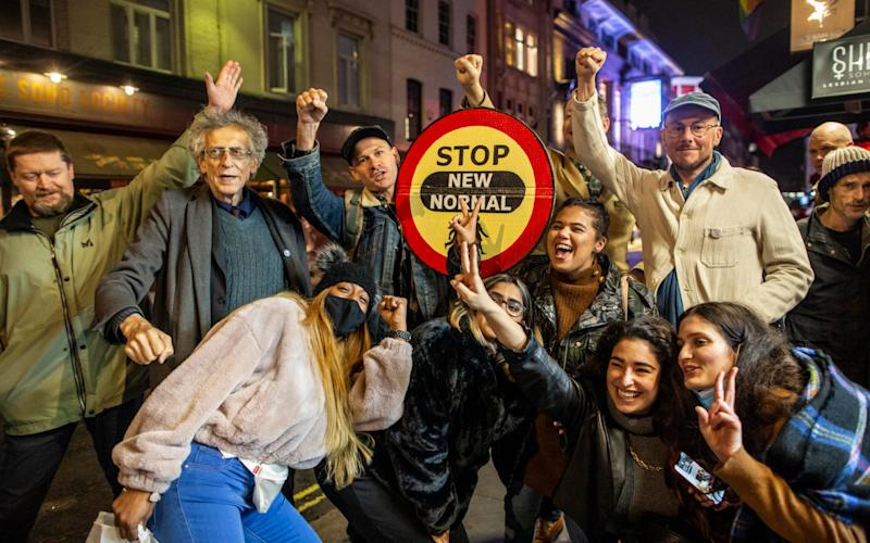 Piers Corbyn, brother of former labour Leader Jeremy Corbyn on Old Compton Street during what is was dramatically named the Last Night of Freedom by protesters - Jeff Gilbert