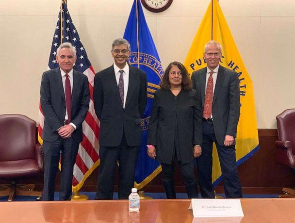 PHOTO: White House adviser Dr. Scott Atlas, left, met with U.S. Health and Human Services Secretary Alex Azar, not pictured, and three researchers who support ideas associated with the concept of 'herd immunity,' on Oct. 5, 2020.  (Scott Atlas/Twitter)