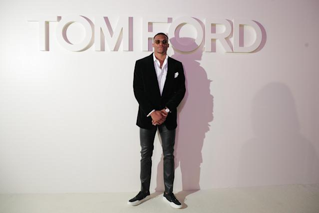 Russell Westbrook wears leather pants. (Photo: Courtesy of Tom Ford)