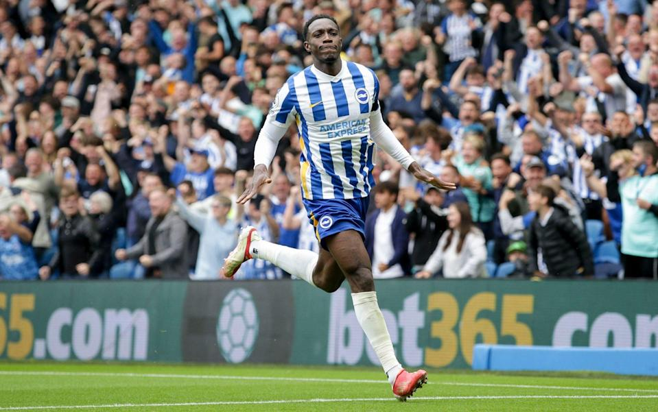 Danny Welbeck of Brighton & Hove Albion celebrates after he scores a goal to make it 2-0 during the Premier League match between Brighton & Hove Albion and Leicester City at American Express Community Stadium on September 19, 2021 in Brighton, England. - GETTY IMAGES