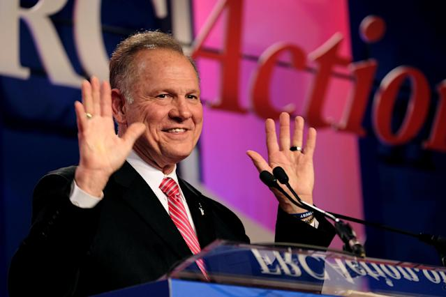 Moore speaks at the Values Voter Summit in Washington, D.C., last month. (Photo: James Lawler Duggan/Reuter)