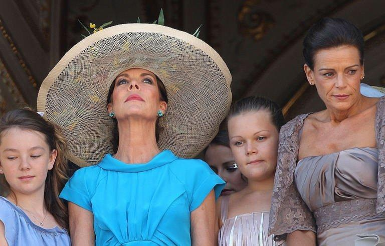 Princess Caroline of Hanover (2R) and her daughter Alexandra of Hanover (L), Princess Stephanie of Monaco (R) and her daughter Camille Marie Kelly Gottlieb pose on the balcony after the civil wedding of Prince Albert II of Monaco and Princess Charlene of Monaco at the Prince's Palace