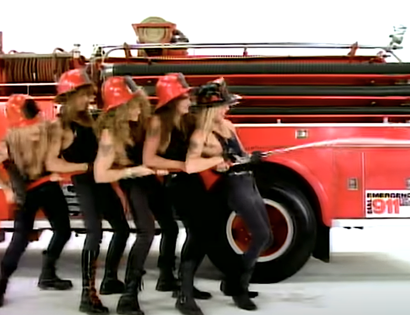 "A controversial scene in Warrant's ""Cherry Pie"" music video. (Photo: Sony Music Label Group)"