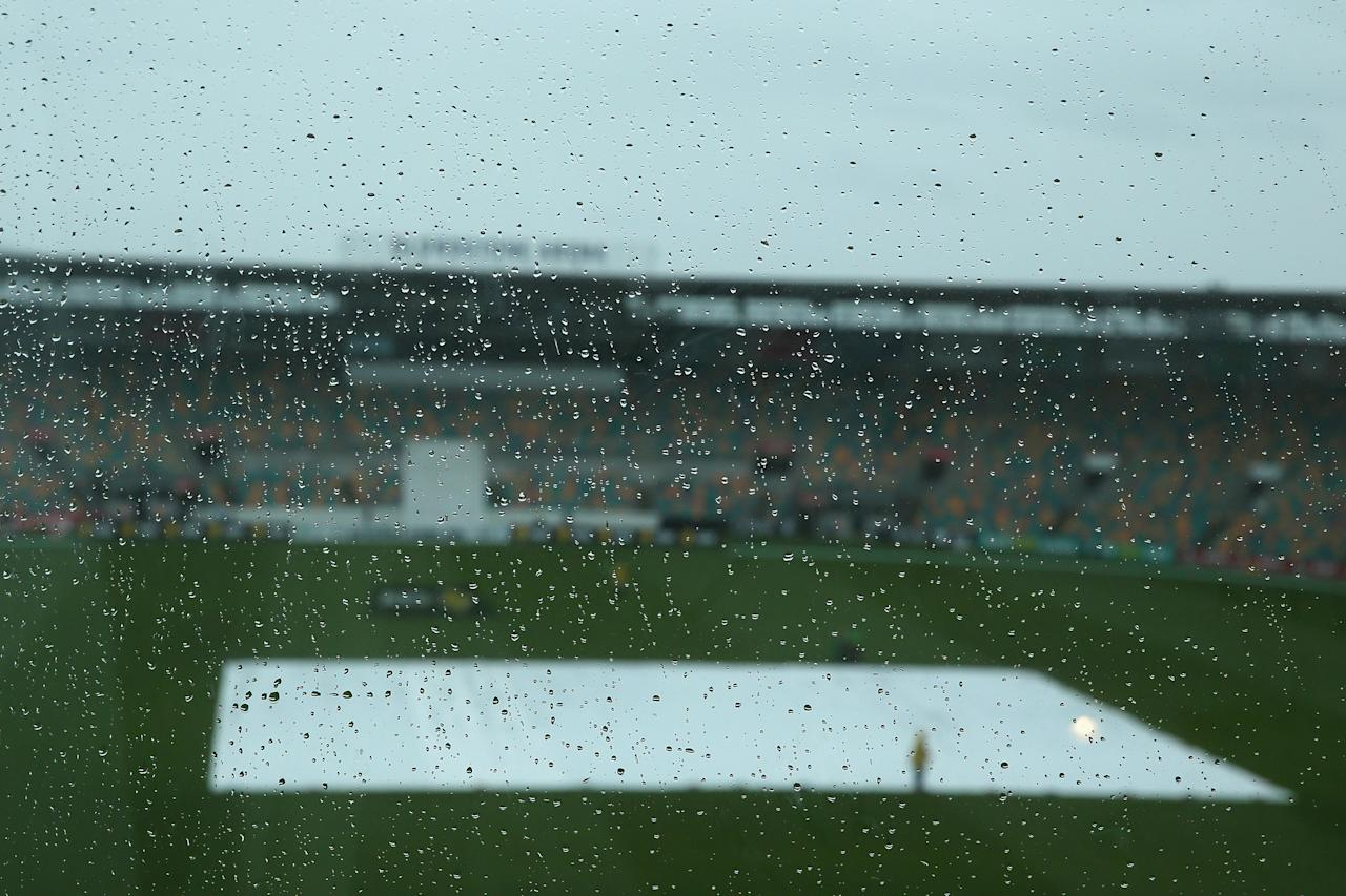 HOBART, AUSTRALIA - NOVEMBER 07:  A general view is seen of rain drops on a window as rain delays the start of play during day two of the tour match between Australia A and England at Blundstone Arena on November 7, 2013 in Hobart, Australia.  (Photo by Mark Kolbe/Getty Images)
