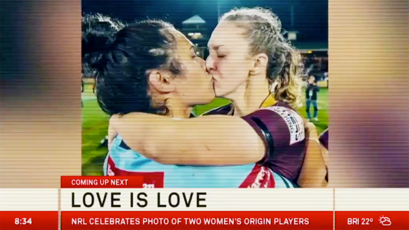 Karina Brown and Vanessa Foliaki, pictured here in the new NRL ad.