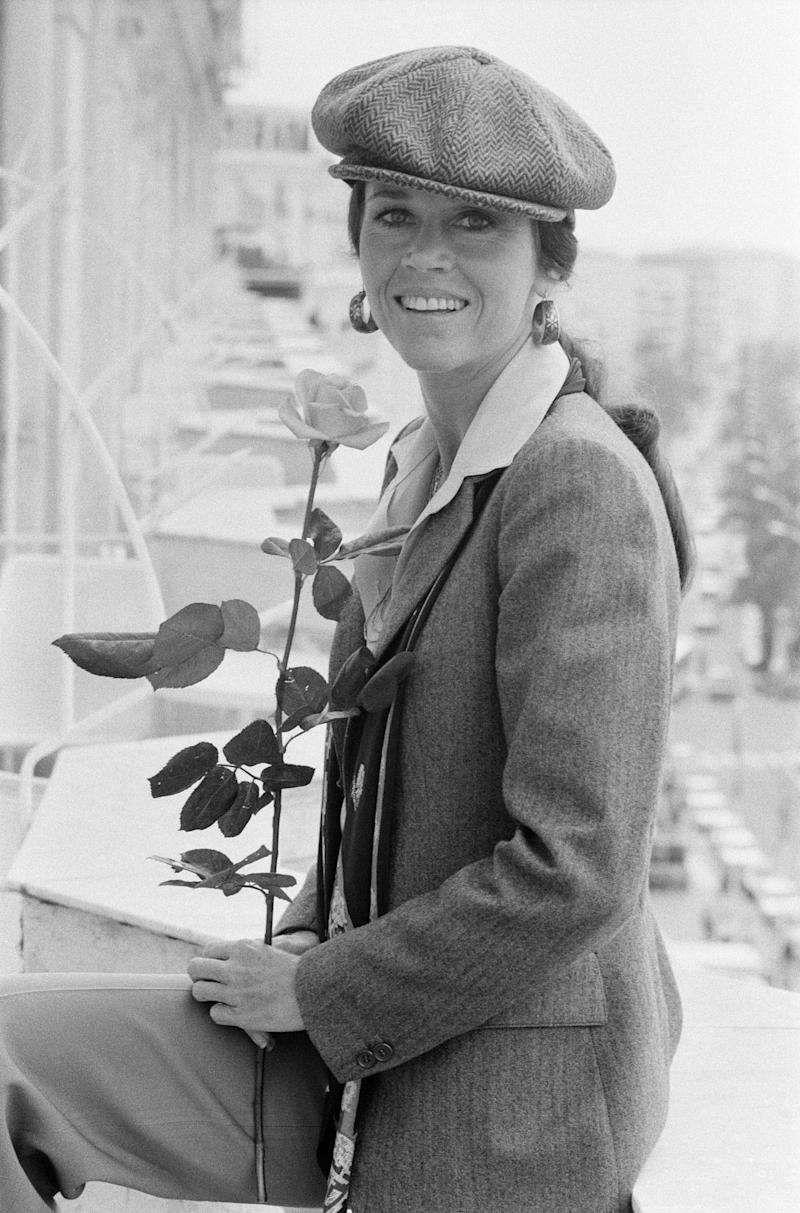 Fonda sports a tweed pageboy hat at the Cannes Film Festival in 1978.