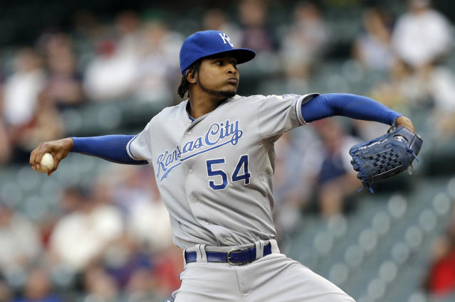 Kansas City Royals starting pitcher Ervin Santana delivers in the first inning of a baseball game against the Cleveland Indians, Monday, Sept. 9, 2013, in Cleveland. (AP Photo/Tony Dejak)