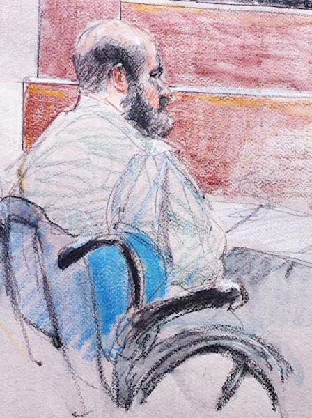 In this courtroom sketch, U.S. Army Maj. Nidal Hasan sits in the courtroom during a hearing at Fort Hood, Texas, Tuesday, June 11, 2013. The judge, Col. Tara Osborn, has delayed a ruling on whether to allow Hasan's defense strategy, and his trial date has not been set. (AP Photo/Brigitte Woosley)