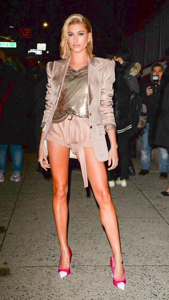 <p>Baldwin bared her legs on the New York City streets, despite the winter chill. (Photo: Getty Images) </p>