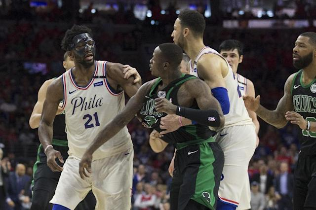 Joel Embiid managed to bait Terry Rozier during the 76ers' win over the Celtics and continued to trash him in the post-game media conference. (AFP)