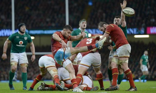 """<span class=""""element-image__caption"""">Wales' Rhys Webb clears the danger against Ireland with a box kick.</span> <span class=""""element-image__credit"""">Photograph: Ian Cook/CameraSport via Getty Images</span>"""