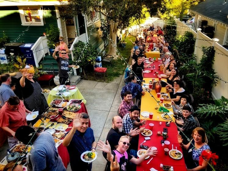 People gather at Noelle Carter's Southern California home for her annual 'Long Table' Thanksgiving dinner on Nov. 23, 2017.