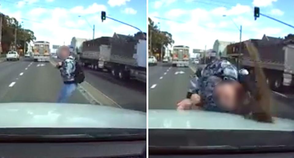 The moment the woman was struck by the car and propelled onto the road. Source: Reddit/u/JjzMerheb