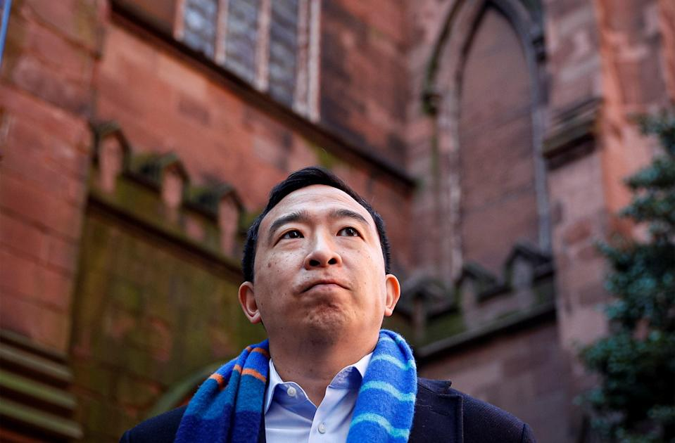 <p>Andrew Yang at a previous visit to St Ann and the Holy Trinity Church in Brooklyn, New York</p> (REUTERS)