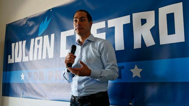 PHOTO: Former Housing and Urban Development Secretary and Democratic presidential candidate Julian Castro speaks at a campaign event at a home Friday, Aug. 2, 2019, in Boulder City, Nev. (John Locher/AP)