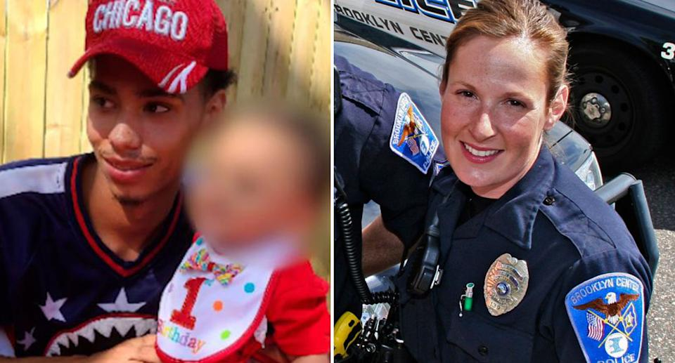 Pictured left is Daunte Wright and on the right is the police officer who shot him, Kim Potter.