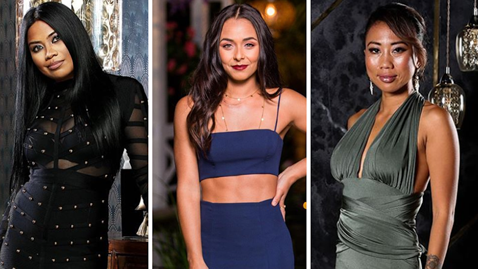 MAFS star Cyrell Jimenez Paule, Bachelor In Paradise's Brooke Blurton (C) and MAFS contestant Ning <span>Surasiang (R).</span> Photo: Channel Nine (L and R) and Channel Ten (C)