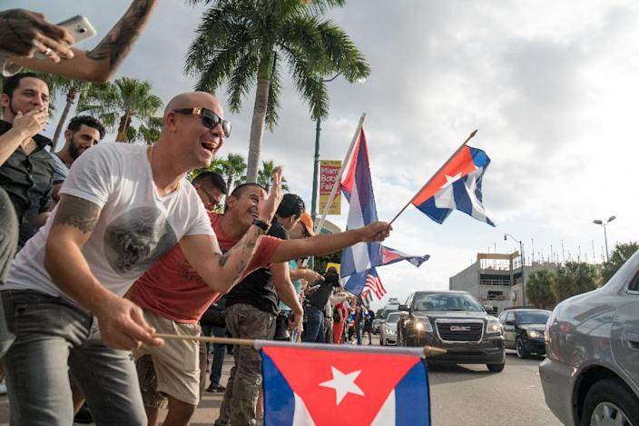 In Miami -- home to the largest concentration of Cuban-Americans in the United States -- the news spread quickly and with fervor (AFP Photo/Angel Valentin)