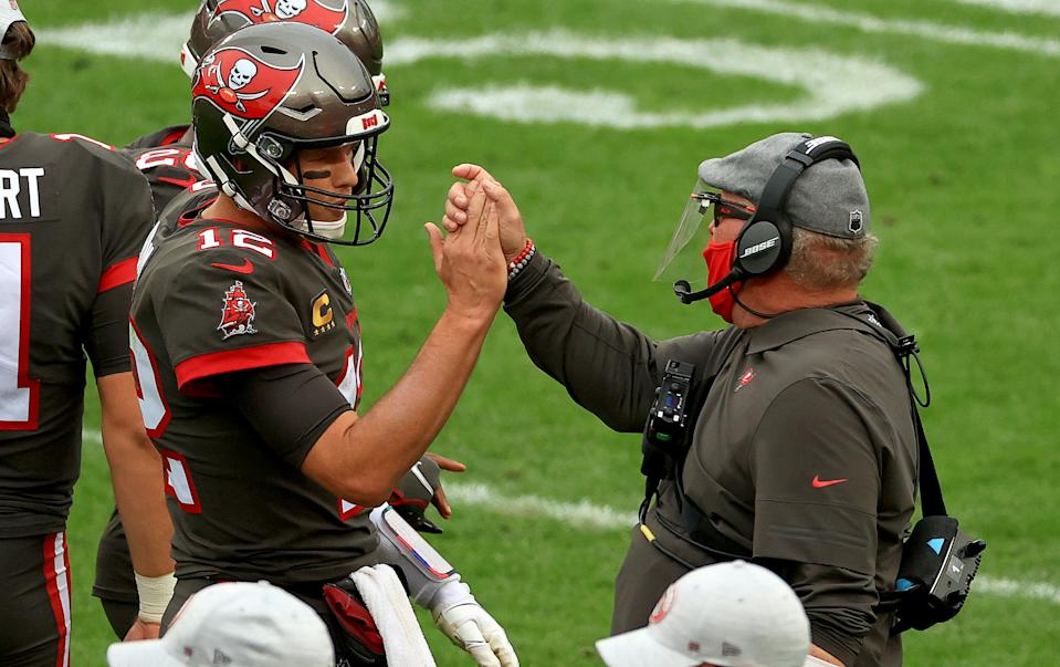 Buccaneers head coach Bruce Arians believes Tom Brady came to Tampa to prove he could win without the Patriot Way. (Photo by Mike Ehrmann/Getty Images)