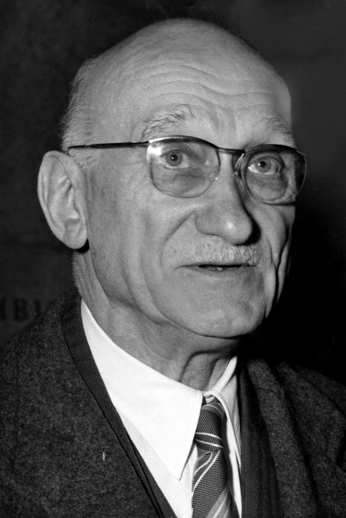 """Robert Schuman is shown in this Feb. 19, 1958 photo. Pope Francis has put one of the architects of the plan for European integration, a forerunner of the European Union, on the path to possible sainthood. The Vatican said on Saturday, June 19, 2021 that the pontiff authorized a decree declaring the """"heroic virtues"""" of Robert Schuman, a former French minister and Resistance fighter in World War II, who died in 1963 and who had been president of the European Parliament from 1958 till 1960. (AP Photo)"""